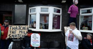 Protesters outside the Comrades pub in the former coal mining village of Goldthorpe on the day of Margaret Thatcher's funeral last week. Photograph: Nigel Roddis/Reuters