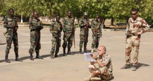 European troops training members of the Malian military. Eight Irish Defence Forces personnel are participating in the EU mission to train Mali's army to fight militants in the country's north. Photograph: Mary Fitzgerald