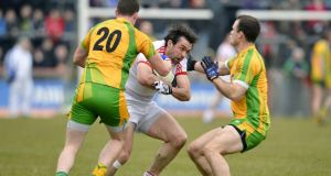 Tyrone's Joe McMahon in action against Donegal in their Division One clash last month. Photograph: Inpho