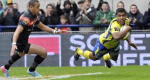 Wesley Fofana scores a try for Clermont in their demolition of Toulouse last weekend. Photograph: AFP/Getty Images