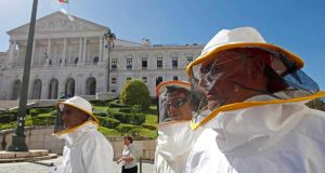 Beekeepers protesting  in front of the parliament in Lisbon. So far Portugal has not had the kind of social unrest seen  that by  its troubled neighbours such as  Spain and Greece  have seen . Photograph: Jose Manuel Ribeiro/Reuters