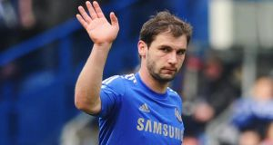 Branislav Ivanovic of Chelsea was checked for injuries after the game