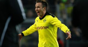 Borussia Dortmund's Mario Goetze as he celebrates a goal against Greuther Fuerth during the German first division Bundesliga match. Photograph:   Ina Fassbender/Reuters
