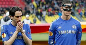 Fernando Torres and Yossi Benayoun look on during the UEFA Europa League quarter final second leg match between FC Rubin Kazan and Chelsea at the Luzhniki Stadium. Photograph: Photograph: Dmitry Korotayev/Epsilon/Getty Images