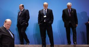 [from left] Minister for Finance Michael Noonan, Brazil's central bank governor Alexandre Tombini, US Federal Reserve chairman Ben Bernanke and Saudi Arabia's minister of finance Ibrahim Al-Assaf at the recent G20	 finance ministers meeting in Washington. Photograph:  Yuri Gripas/Reuters