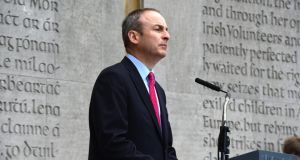 Fianna Fáil leader Micheál Martin speaking at the annual Easter Rising 1916 Commemoration at Arbour Hill, Dublin, on Sunday. Photograph: Cyril Byrne