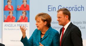 German Chancellor Angela Merkel and Polish Prime Minister Donald Tusk. Photograph: Reuters