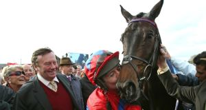 Barry Geraghty celebrates with Sprinter Sacre after yesterday's victory at Punchestown. Photograph: Lorraine O'Sullivan/Inpho