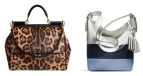 Left: Leopard print bag, €995, by Dolce & Gabbana at Brown Thomas. Right: Striped bag, €475, by Coach