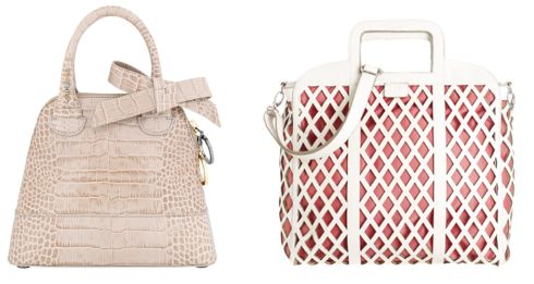 Left: Beige leather structured bag, €429, by Paule Ka at Ellen B, ellenb.ie. Right: White lattice effect bag, €86, by Betty Jackson Black at Debenhams