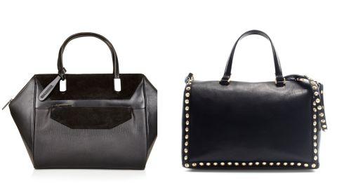 Right: Winged leather tote bag, €130 from Topshop €130, from Topshop. Right:  Studded leather bowling bag, €129, at Zara