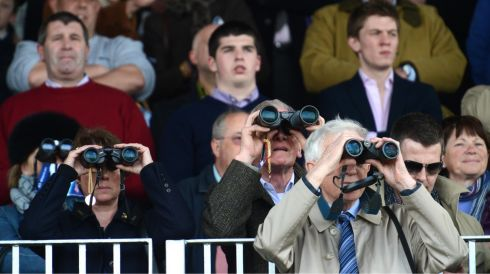 They mean business: Looking keen down the front on Punchestown opening day. Photograph: Dara Mac Dónaill/The Irish Times