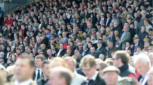 Crowds at the opening day of Punchestown Festival 2013. Photograph: Dara Mac Dónaill/The Irish Times