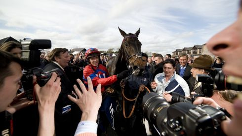 The media gather after Barry Geraghty riding Sprinter Sacre wins the Boylesports.com Champion Chase at Punchestown racecourse. Photograph: Alan Crowhurst/Getty Images