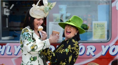 Caroline Webb (left), Tara, Co Meath, with Veronica Walsh, Navan, on Punchestown  opening day. Photograph: Dara Mac Dónaill/The Irish