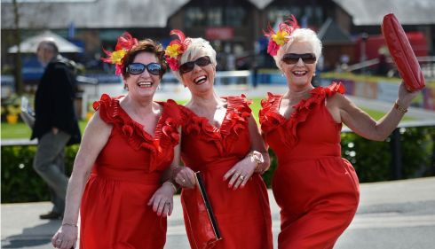 From left are sisters Ann, Catherine and Maureen Pigott, from Blanchardstown, on opening day. Photograph: Dara Mac Dónaill/The Irish Times