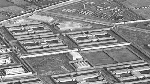 Aerial view of the 'H Blocks' in the Maze Prison.