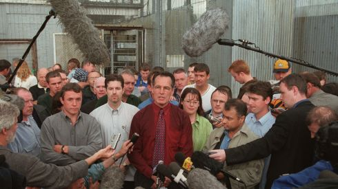 Spokesman for Sinn Féin prisoners Gerry Kelly is joined by IRA prisoners including Michael Caraher of South Armagh (at left in grey shirt), at a news conference following their release from the Maze Prison in July 2000. Photograph: Matt Kavanagh/The Irish Times