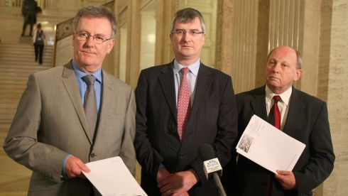 UUP leader Mike Nesbitt (left), Tom Elliott (UUP, centre) and TUV leader Jim Allister, at a press conference in Stormont demanding an immediate halt to the Maze Prison development project which was given the go-ahead the previous week. Photograph: Paul Faith/PA Wire