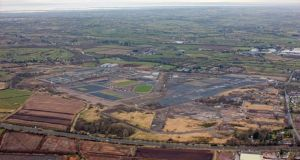 A handout photo issued by Maze Long Kesh Development Corporation of an aerial view of the Maze Long Kesh site where the new peace centre will be. Photograph:  Colin Bailie/PA Wire