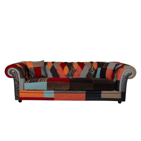 PATCH WORKS: This Peroda Random couch is a Chesterfield design that has been given a modern makeover. The patchwork velvet upholstered three-seater is reduced from €1,149 to €999 at Arnotts (arnotts.ie).  Also reduced is the Accent three-piece suite (two-seat sofa and two matching armchairs), down from €3,397 to €1,699. For a sound sleep try the Sealy Millionaire Elite double bed, reduced from €1,199 to €599.