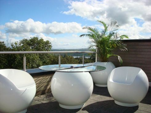 THREE OF THE BEST: OUTDOOR IDEAS  Colour Bubble fiberglass garden furniture (bubblegardenfurniture.com) is made by former boat builder Gerry McAleer, in his Co Donegal workshop. The collection includes his signature egg-and-saucer table (€450), and matching ball chairs (€180 each ) and stools (€120). New to the range are rocking chairs (€500 each), in electric blue, charcoal, lime green, fire engine red and pure white. They're available to buy online and at Kilsaran International (01-8026300 kilsaran.ie) in Piercetown, Dunboyne, Co Meath.