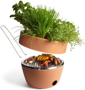 THREE OF THE BEST: OUTDOOR IDEAS  This Hot Pot design by Black and Blum (black-blum.com) is a cooking utensil and herb-garden rolled into one. It measures 27cm by 37cm and looks like a terracotta pot. Grow your herbs on the top and use to season the food you cook on the grill concealed underneath. Priced €119 plus delivery.