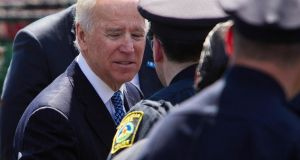 US vice president Joe Biden speaks to police officers at memorial services for Massachusetts Institute of Technology Patrol Officer Sean Collier.