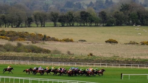 Racing on the far side of the track in The Martinstown Opportunity Series Final Handicap Hurdle at Punchestown racecourse on day two. Photograph: Alan Crowhurst/Getty Images