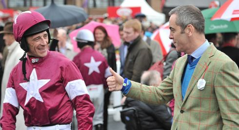 Davy Russell with actor James Nesbitt before Russell's win in the TheTote.com Punchestown Gold Cup Steeplechase. Photograph: Julien Behal/PA Wire