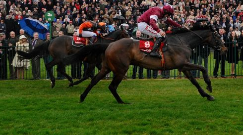 Davy Russell rides Sir Des Champs clear the last to win The Bet Online With Thetote.com Punchestown Gold Cup Steeplechase. Photograph: Alan Crowhurst/Getty Images