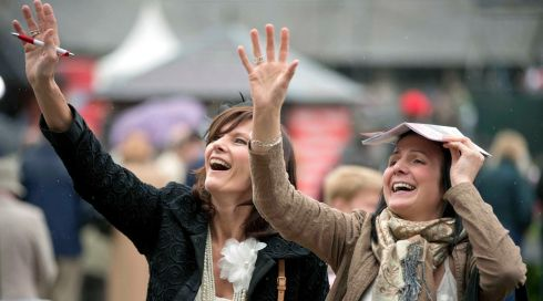 Eilish Costello and Alva Hynes from Carlow enjoying the races at Punchestown. Photograph: Morgan Treacy/Inpho