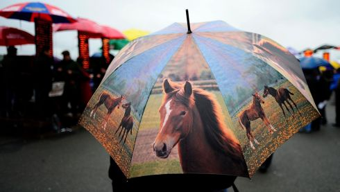 Rain visits the races at Punchestown. Photograph: Alan Crowhurst/Getty Images