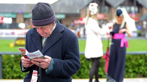 Paddy Hackett from Naas studying the form.  Photograph: Eric Luke/The Irish Times