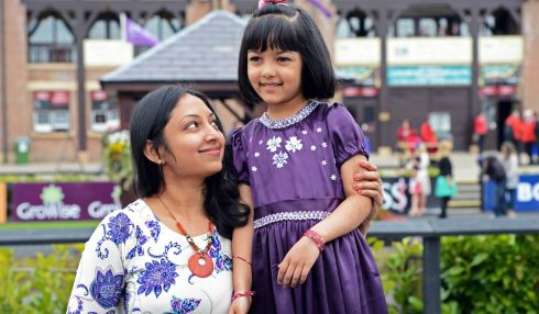 Chilani Liyanapahirana and her daughter Dulanga (6), from Walkinstown, Dublin, at Punchestown. Photograph: Eric Luke/The Irish Times