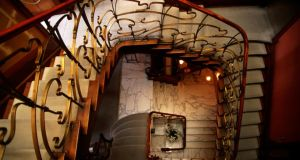 The beautiful Art Nouveau stairwell of the Musee Horta in Brussels
