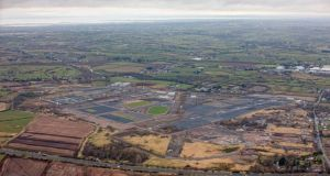 'As I envisage it, the building would be as tribute to the letter H itself, which has played a central role in the Northern conflict.' Aerial view of the Maze Long Kesh site where the new peace centre will be. Photograph: PA/Colin Bailie