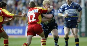 Leo Cullen in action against Perpignan in the 2003 Heineken Cup semi-final – Brian O'Driscoll and Gordon D'Arcy are the two other survivors from that defeat