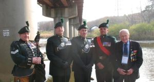 Dublin veteran Michael Kelly and serving soldiers of the Royal Irish Regiment at Happy Valley