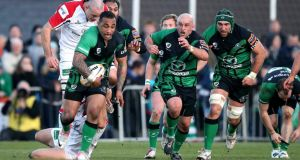Connacht's Fetu'u Vainikolo runs with the ball. Photograph: Billy Stickland/Inpho