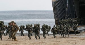 US and South Korean marines participate in a joint landing operation drill in Pohang, about 370 kmsoutheast of Seoul, April 26, 2013. Photograph: Lee Jae-Won /Reuters