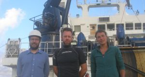 Dr Brian Ward (centre) with PhD students Graig Sutherland and Anneke ten Doeschate aboard research vessel Sarmiento de Gamboa