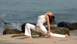 Yoga by the seashore in Costa Rica. Photograph: Getty