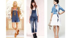 Left to right: dungarees (€50), T-shirt (€28), sequin jacket (€70), boots (€50), all at Miss Selfridge.;  dungarees (€55), at River Island;  jacket (€26), printed scarf (€7), bag (€22), and dress (€16.50), by F&F at Tesco