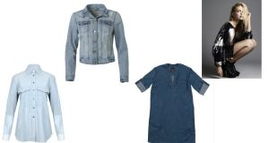 Above left to right:  chambray shirt (€295), by Victoria Beckham Denim at BT2;  denim jacket (€19), at Penneys;  denim dress (€150), at Tommy Hilfiger;  printed jersey dress (€185), by Diesel at Arnotts