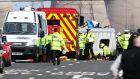 The scene where a woman  died in a collision on the westbound carriage of the M62 near Pontefract in West Yorkshire between a lorry and a minibus today. Photograph: Lynne Cameron/PA Wire