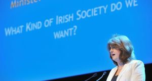 "Minister for Social Protection Joan Burton giving a speech last weekend  in which she said we have ""reached the limits of austerity now"". Photograph: Laura Hutton/Photocall Ireland"