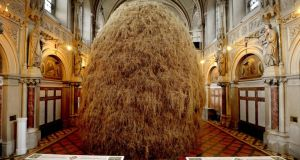 A giant haystack by  Patrick O'Reilly in his studio, St Alphonsus Church, in Drumcondra, Dublin. Photograph: David Sleator