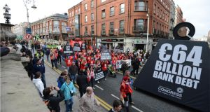 Protesters at the anti-austerity march in Dublin in February organised by the Irish Congress of Trade Unions. Photograph: Dara Mac Dónaill