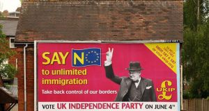"A billboard for Ukip in the 2009 European Parliament elections.  ""The growing English nationalism affecting the Conservatives and the buoyant Eurosceptic Ukip competing with it are defined against Europe."" Photograph:   Oli Scarff/Getty Images"